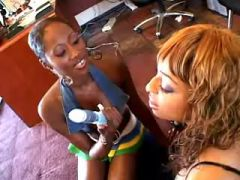 Pretty black lesbian vixens in sex party