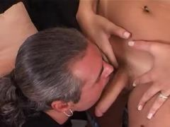 Perky shemale honey gets screwed
