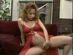 Saucy pregnant doll takes stiff rod