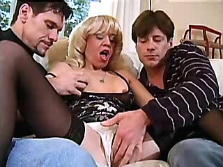 Horny granny gets cum on saggy tits