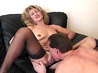 Chubby blond milf polishes big knob